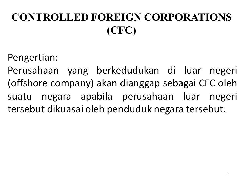 4 Pengertian: Perusahaan yang berkedudukan di luar negeri (offshore company) akan dianggap sebagai CFC oleh suatu negara apabila perusahaan luar neger