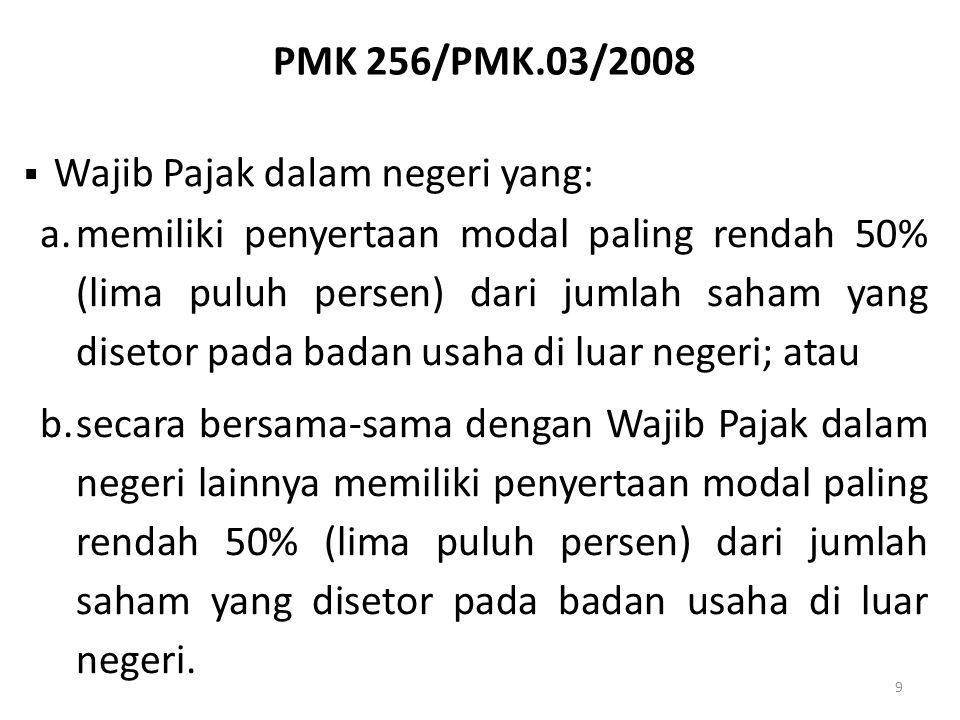 PMK 256/PMK.03/2008 9  Wajib Pajak dalam negeri yang: a.memiliki penyertaan modal paling rendah 50% (lima puluh persen) dari jumlah saham yang diseto