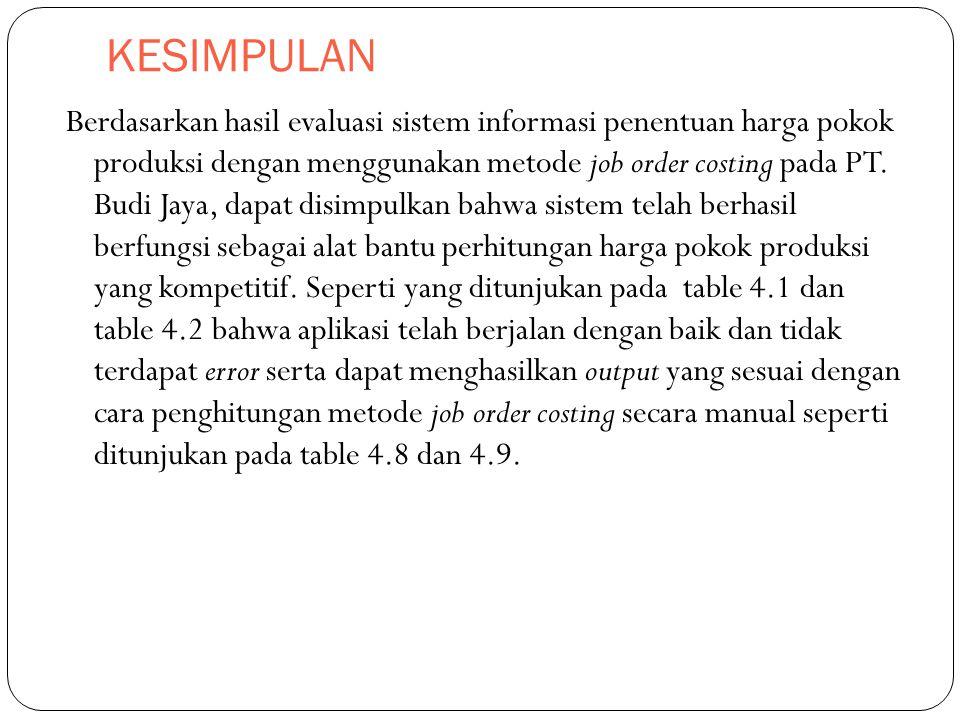 KESIMPULAN Berdasarkan hasil evaluasi sistem informasi penentuan harga pokok produksi dengan menggunakan metode job order costing pada PT. Budi Jaya,