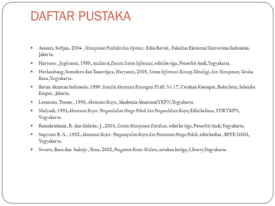 DAFTAR PUSTAKA Assauri, Softjan, 2004, Manajemen Produksi dan Operasi, Edisi Revisi, Fakultas Ekonomi Universitas Indonesia, Jakarta. Hartono, Jogiyan