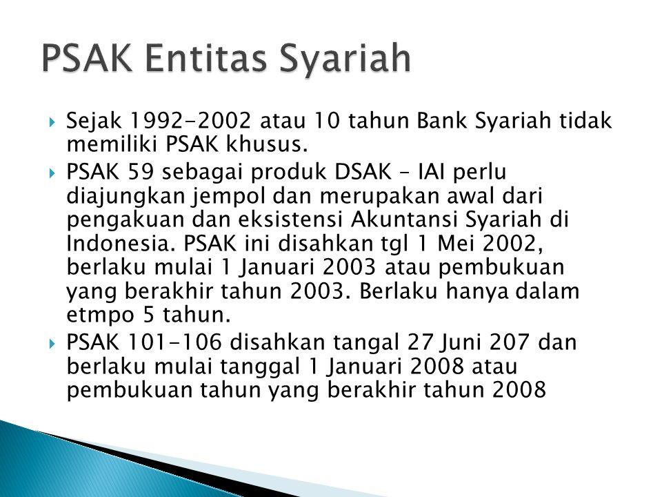  Sejak 1992-2002 atau 10 tahun Bank Syariah tidak memiliki PSAK khusus.