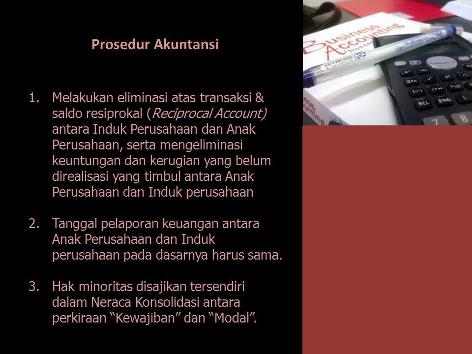 Prosedur Akuntansi 1.Melakukan eliminasi atas transaksi & saldo resiprokal (Reciprocal Account) antara Induk Perusahaan dan Anak Perusahaan, serta men