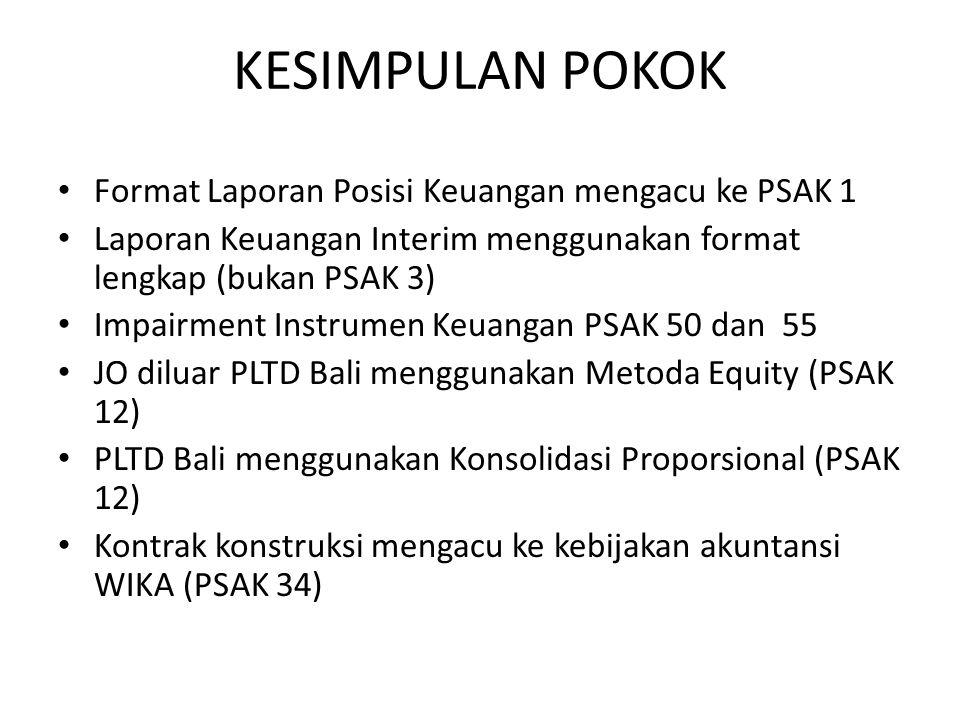 KESIMPULAN POKOK Format Laporan Posisi Keuangan mengacu ke PSAK 1 Laporan Keuangan Interim menggunakan format lengkap (bukan PSAK 3) Impairment Instrumen Keuangan PSAK 50 dan 55 JO diluar PLTD Bali menggunakan Metoda Equity (PSAK 12) PLTD Bali menggunakan Konsolidasi Proporsional (PSAK 12) Kontrak konstruksi mengacu ke kebijakan akuntansi WIKA (PSAK 34)