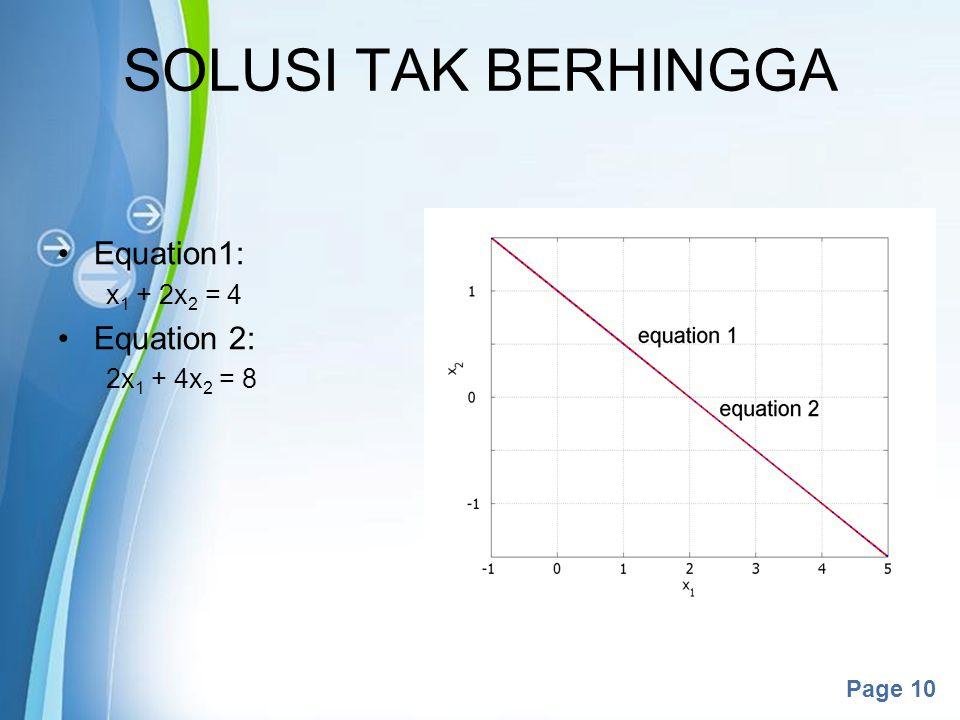 Powerpoint Templates Page 10 SOLUSI TAK BERHINGGA Equation1: x 1 + 2x 2 = 4 Equation 2: 2x 1 + 4x 2 = 8