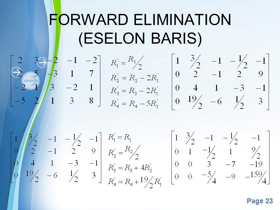 Powerpoint Templates Page 23 FORWARD ELIMINATION (ESELON BARIS)