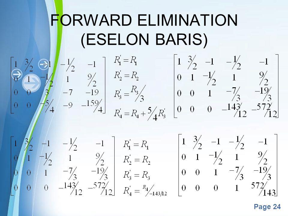 Powerpoint Templates Page 24 FORWARD ELIMINATION (ESELON BARIS)