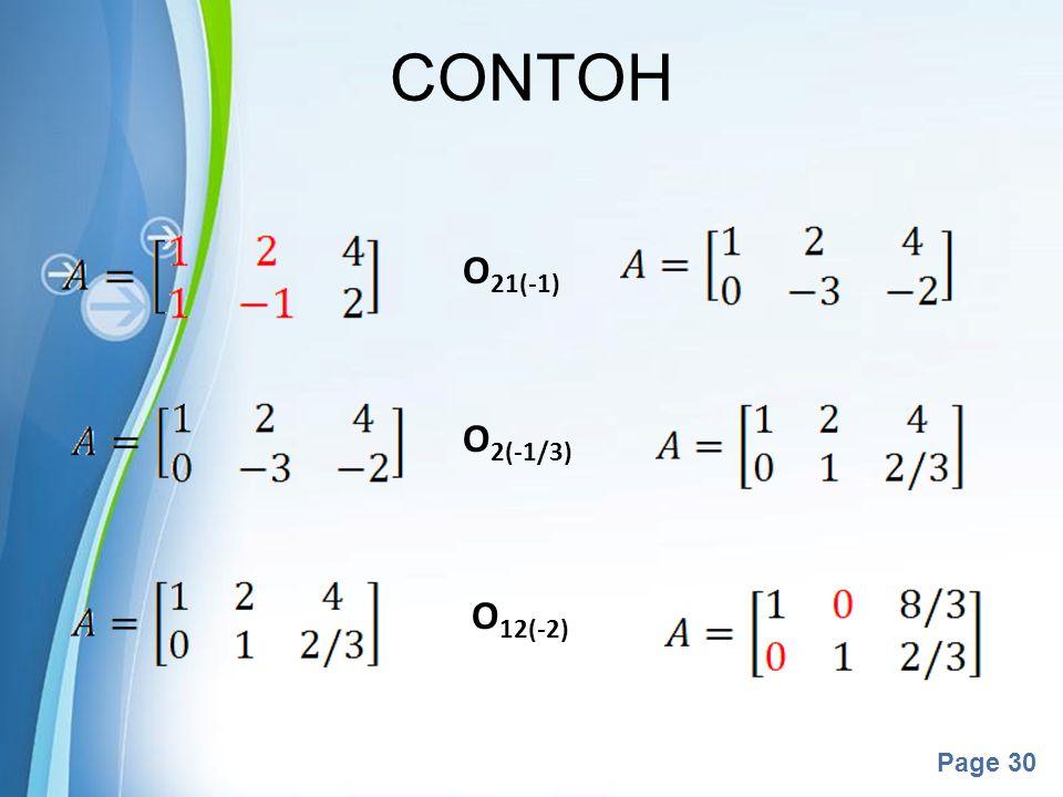 Powerpoint Templates Page 30 CONTOH O 21(-1) O 2(-1/3) O 12(-2)