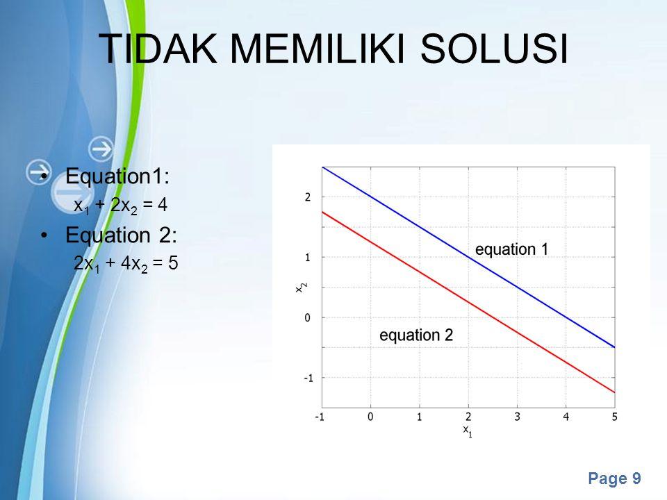 Powerpoint Templates Page 9 TIDAK MEMILIKI SOLUSI Equation1: x 1 + 2x 2 = 4 Equation 2: 2x 1 + 4x 2 = 5