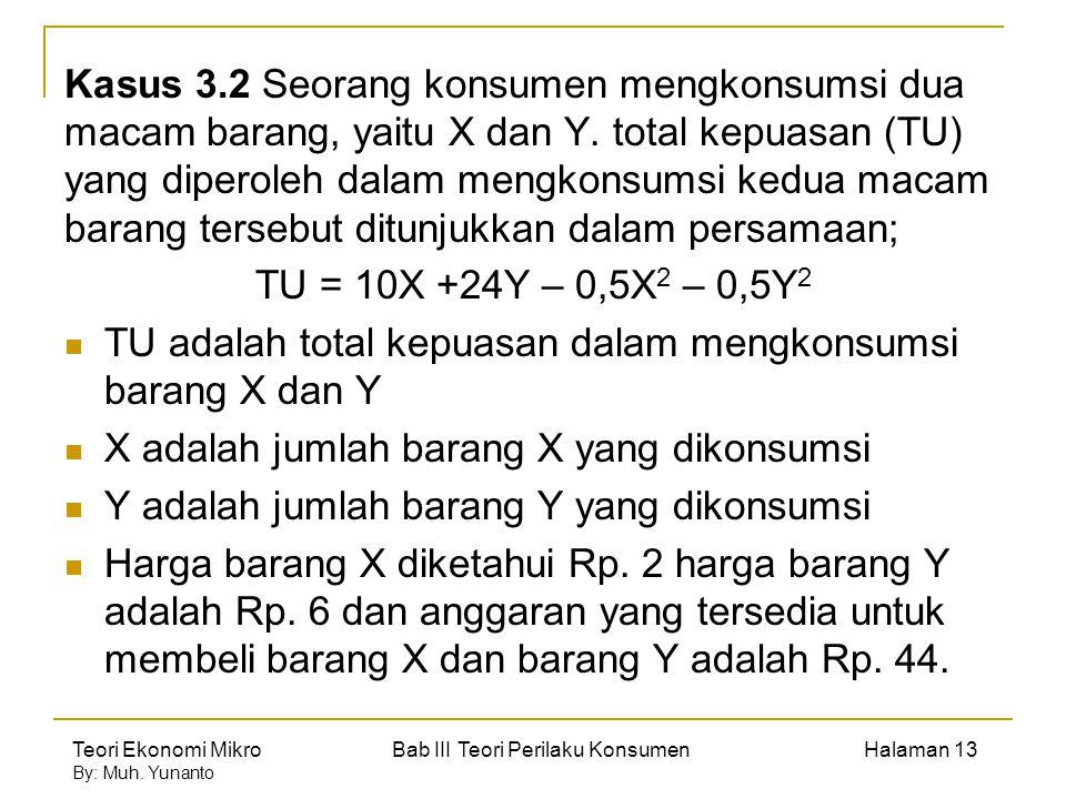 Teori Ekonomi Mikro Bab III Teori Perilaku Konsumen Halaman 13 By: Muh. Yunanto Kasus 3.2 Seorang konsumen mengkonsumsi dua macam barang, yaitu X dan