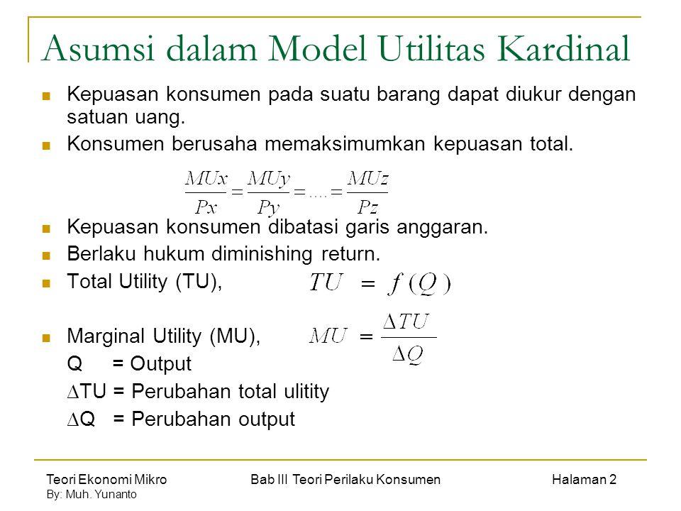 Teori Ekonomi Mikro Bab III Teori Perilaku Konsumen Halaman 2 By: Muh. Yunanto Asumsi dalam Model Utilitas Kardinal Kepuasan konsumen pada suatu baran
