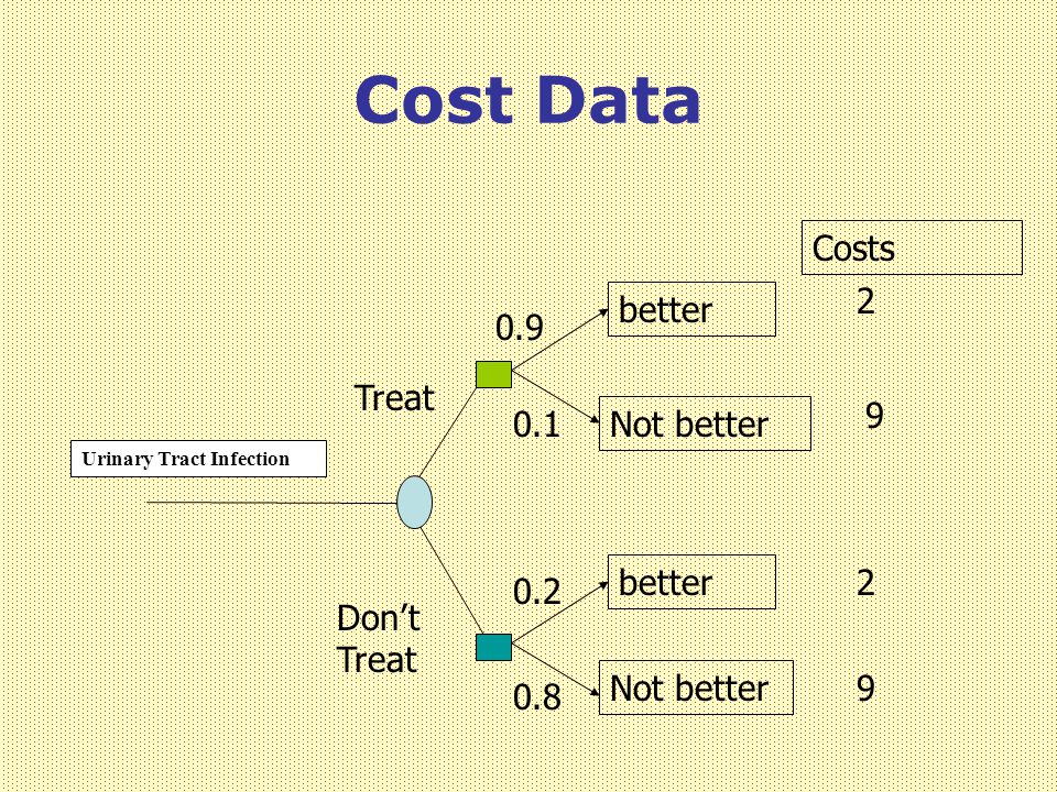 Cost Data Urinary Tract Infection Treat Don't Treat better Not better better Not better 0.9 0.1 0.2 0.8 2 9 2 9 Costs