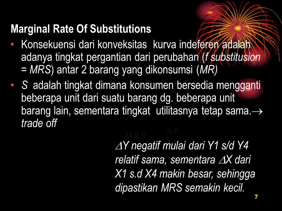 Marginal Rate Of Substitutions Konsekuensi dari konveksitas kurva indeferen adalah adanya tingkat pergantian dari perubahan ( f substitusion = MRS ) a