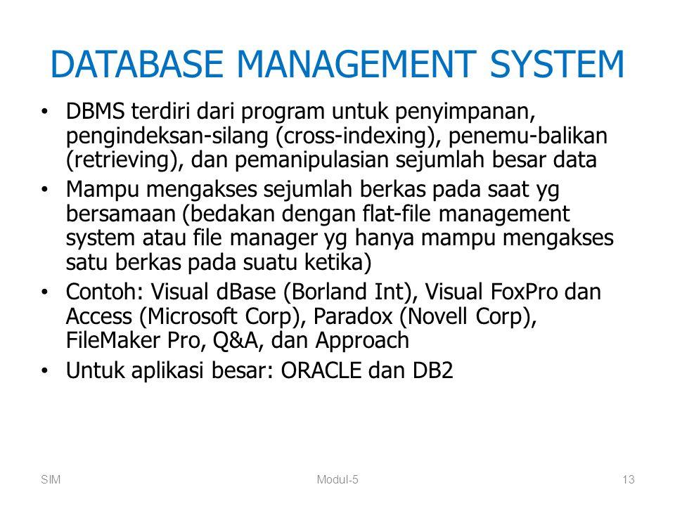 DATABASE MANAGEMENT SYSTEM DBMS terdiri dari program untuk penyimpanan, pengindeksan-silang (cross-indexing), penemu-balikan (retrieving), dan pemanip