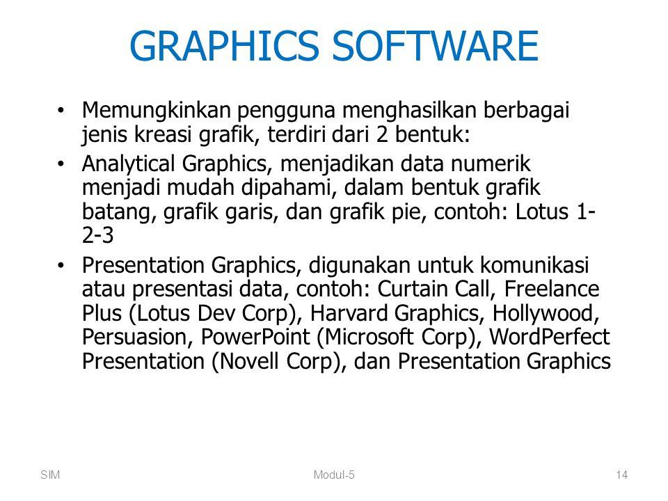GRAPHICS SOFTWARE Memungkinkan pengguna menghasilkan berbagai jenis kreasi grafik, terdiri dari 2 bentuk: Analytical Graphics, menjadikan data numerik