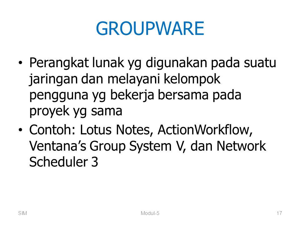 GROUPWARE Perangkat lunak yg digunakan pada suatu jaringan dan melayani kelompok pengguna yg bekerja bersama pada proyek yg sama Contoh: Lotus Notes,