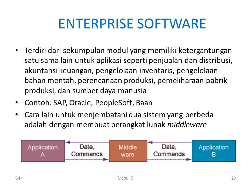 ENTERPRISE SOFTWARE Terdiri dari sekumpulan modul yang memiliki ketergantungan satu sama lain untuk aplikasi seperti penjualan dan distribusi, akuntan