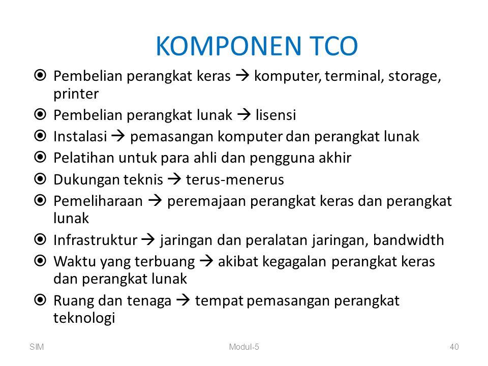 KOMPONEN TCO  Pembelian perangkat keras  komputer, terminal, storage, printer  Pembelian perangkat lunak  lisensi  Instalasi  pemasangan kompute