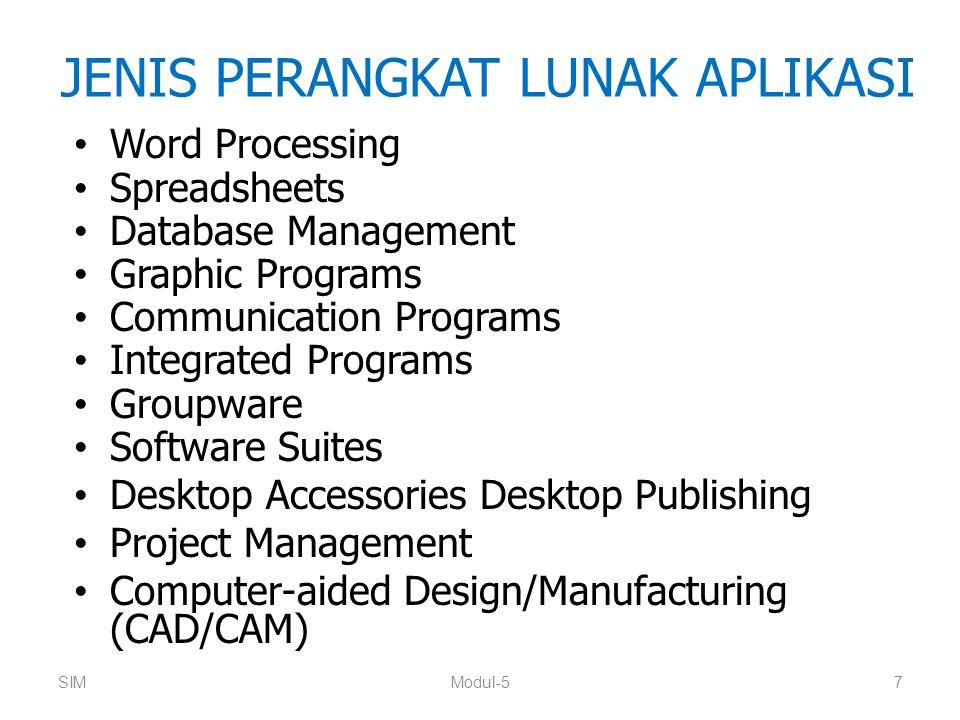 DESKTOP PUBLISHING (DTP) Perangkat lunak DTP menggabungkan teks dan grafis untuk menghasilkan cetakan berkualitas tinggi Contoh: Aldus PageMaker, QuarkXPress (Quark), Corel Draw dan Ventura (Corel Corp), FrameMaker (Frame Tech) dan Publisher (Microsoft Corp) Beberapa program pengolah kata juga memiliki fitur DTP SIMModul-518