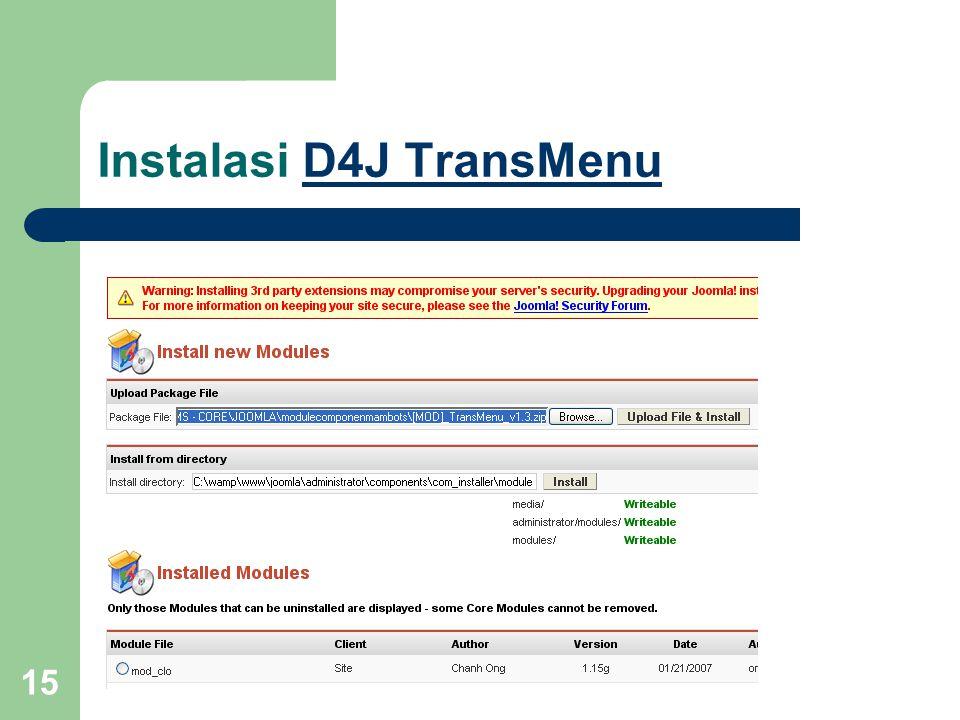 15 Instalasi D4J TransMenuD4J TransMenu