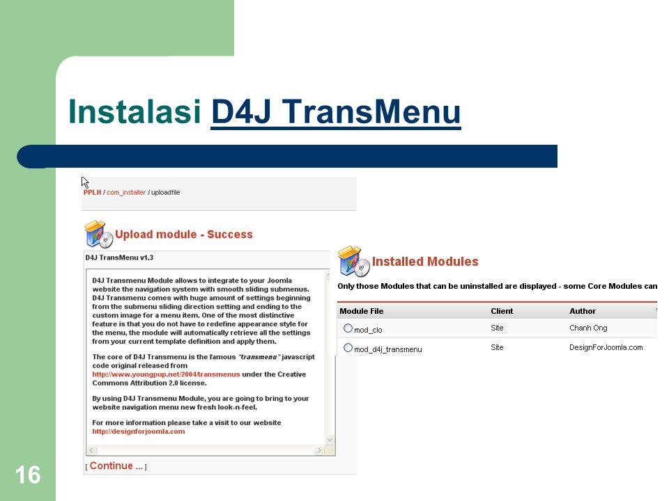 16 Instalasi D4J TransMenuD4J TransMenu