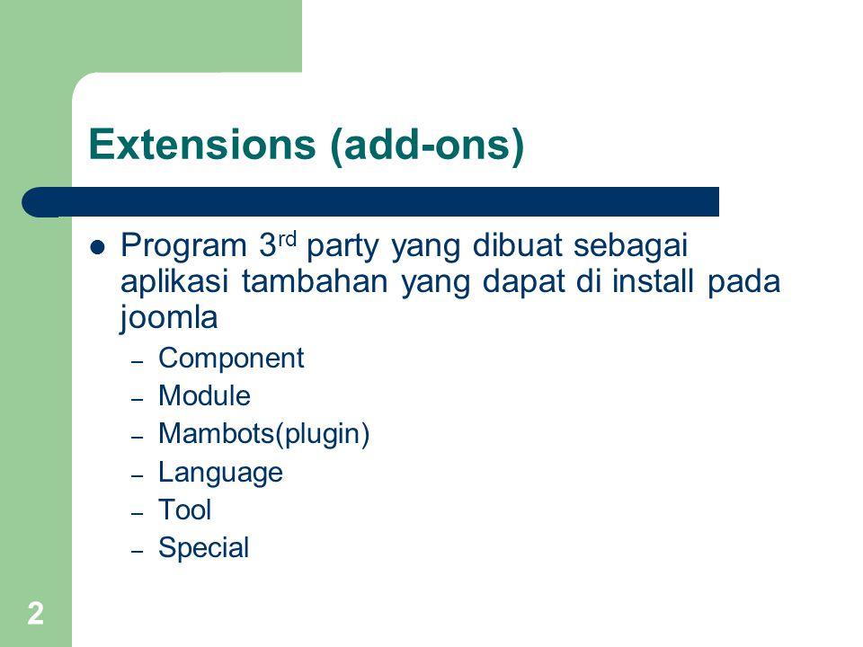 3 Component Program tambahan yang menghasilkan fungsi fungsi interaktif – Komponen komponen joomla bisa didapat pada situs joomla di http://extensions.joomla.org/http://extensions.joomla.org/ – icon yang menandakan sebuah component – Tiap-tiap komponen tidak sama, masing masing mempunyai metode sendiri dalam pengaturannya