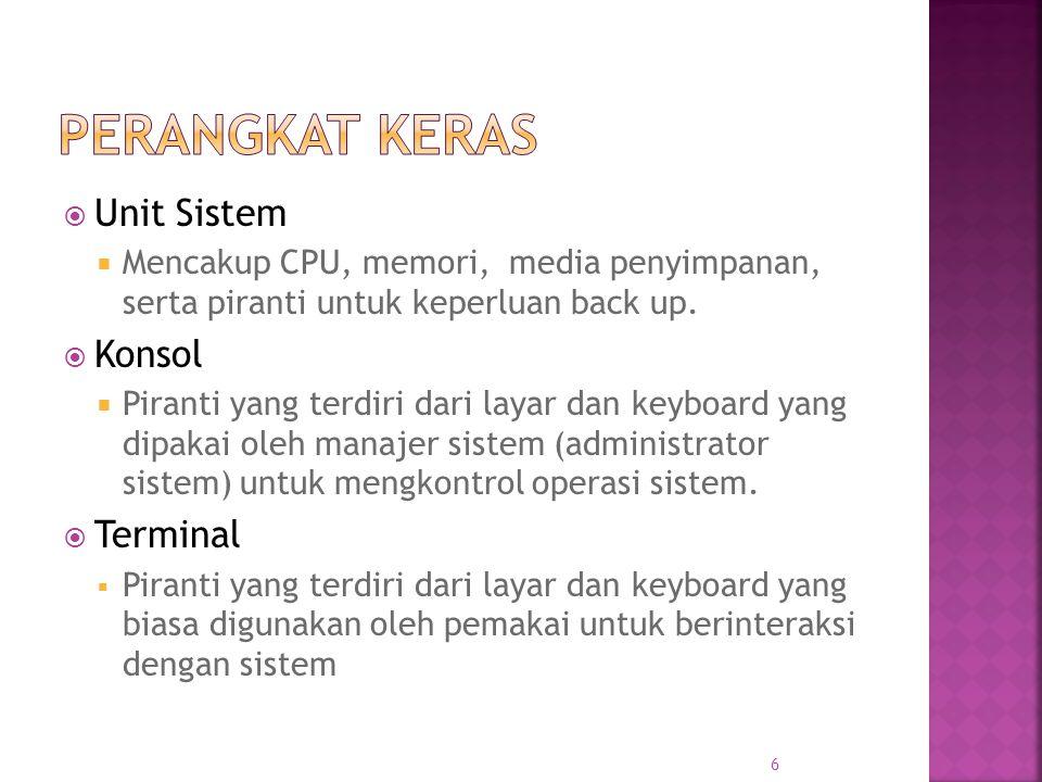  Unit Sistem  Mencakup CPU, memori, media penyimpanan, serta piranti untuk keperluan back up.