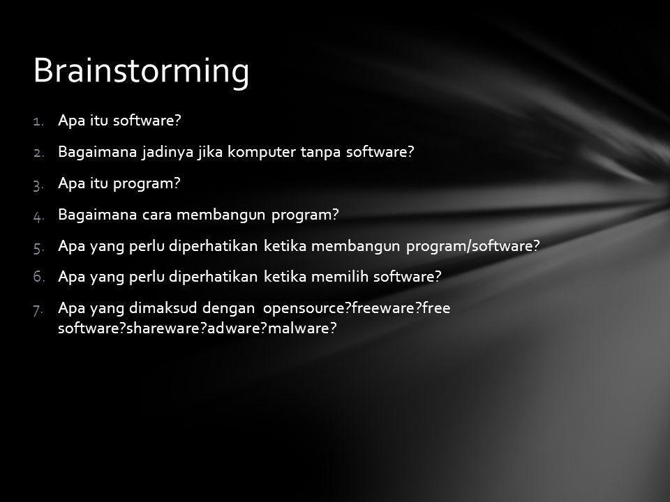 Brainstorming 1.Apa itu software? 2.Bagaimana jadinya jika komputer tanpa software? 3.Apa itu program? 4.Bagaimana cara membangun program? 5.Apa yang