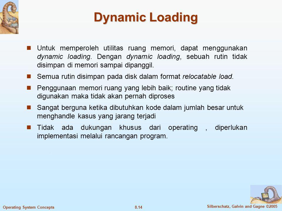 8.14 Silberschatz, Galvin and Gagne ©2005 Operating System Concepts Dynamic Loading Untuk memperoleh utilitas ruang memori, dapat menggunakan dynamic loading.