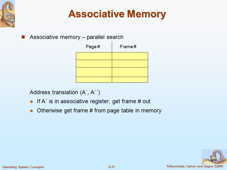 8.31 Silberschatz, Galvin and Gagne ©2005 Operating System Concepts Associative Memory Associative memory – parallel search Address translation (A´, A´´) If A´ is in associative register, get frame # out Otherwise get frame # from page table in memory Page #Frame #