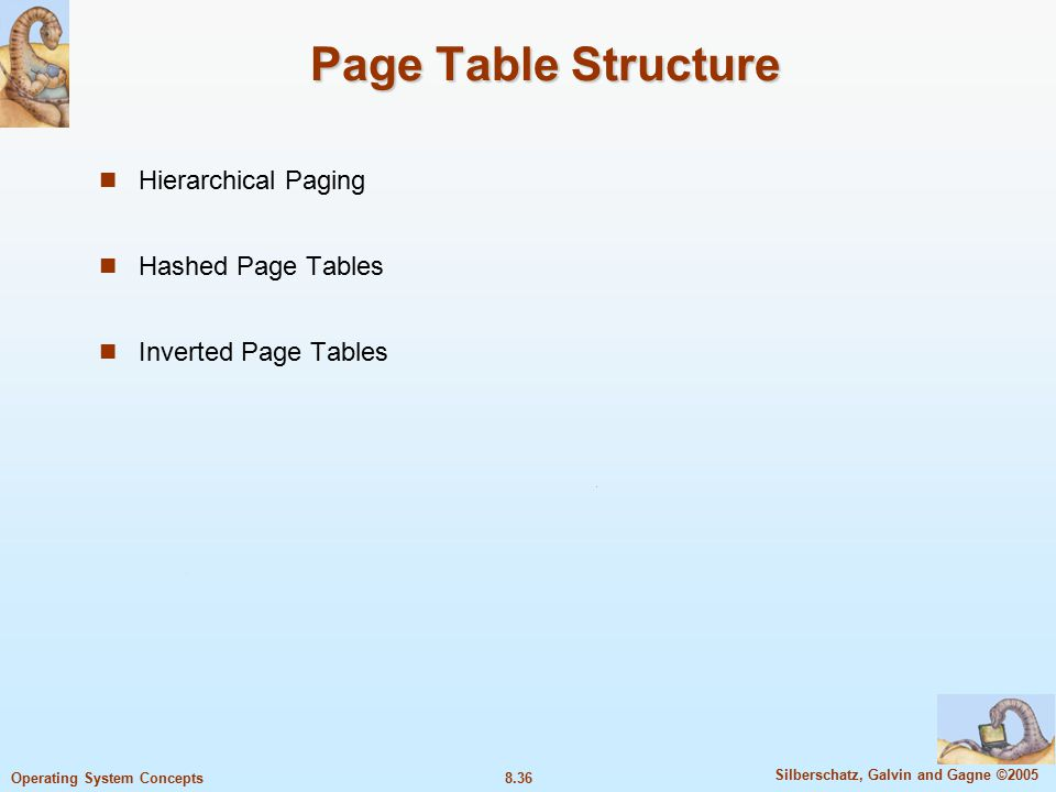 8.36 Silberschatz, Galvin and Gagne ©2005 Operating System Concepts Page Table Structure Hierarchical Paging Hashed Page Tables Inverted Page Tables