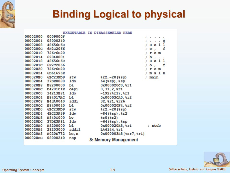 8.9 Silberschatz, Galvin and Gagne ©2005 Operating System Concepts Binding Logical to physical vvv