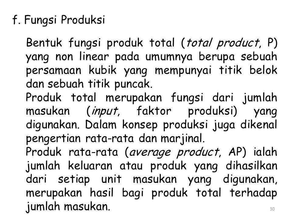 f. Fungsi Produksi Bentuk fungsi produk total (total product, P) yang non linear pada umumnya berupa sebuah persamaan kubik yang mempunyai titik belok
