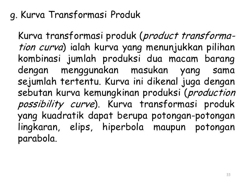 g. Kurva Transformasi Produk Kurva transformasi produk (product transforma- tion curva) ialah kurva yang menunjukkan pilihan kombinasi jumlah produksi