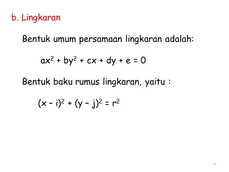 b. Lingkaran Bentuk umum persamaan lingkaran adalah: ax 2 + by 2 + cx + dy + e = 0 Bentuk baku rumus lingkaran, yaitu : (x – i) 2 + (y – j) 2 = r 2 6