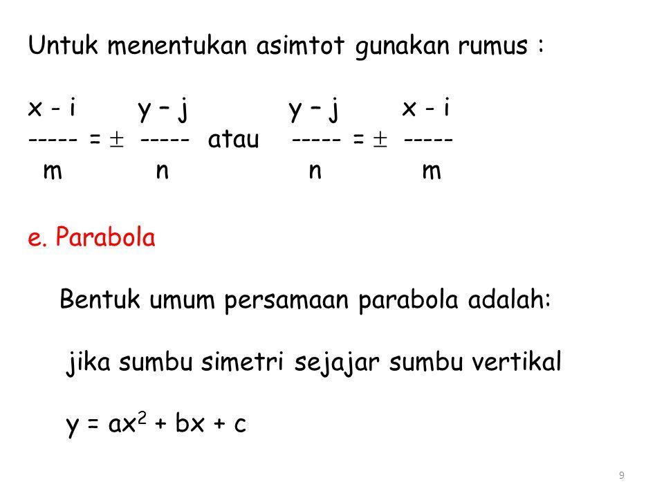 Untuk menentukan asimtot gunakan rumus : x - i y – j y – j x - i ----- =  ----- atau ----- =  ----- m n n m e. Parabola Bentuk umum persamaan parabo