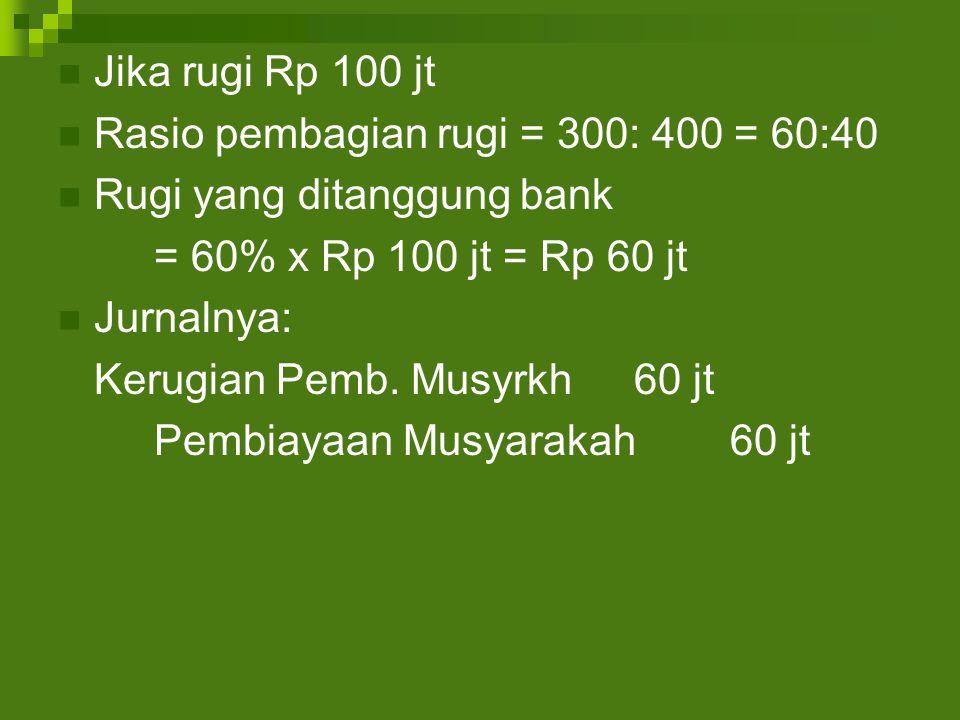 Jika rugi Rp 100 jt Rasio pembagian rugi = 300: 400 = 60:40 Rugi yang ditanggung bank = 60% x Rp 100 jt = Rp 60 jt Jurnalnya: Kerugian Pemb.