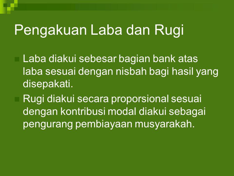Pengakuan Laba dan Rugi Laba diakui sebesar bagian bank atas laba sesuai dengan nisbah bagi hasil yang disepakati.