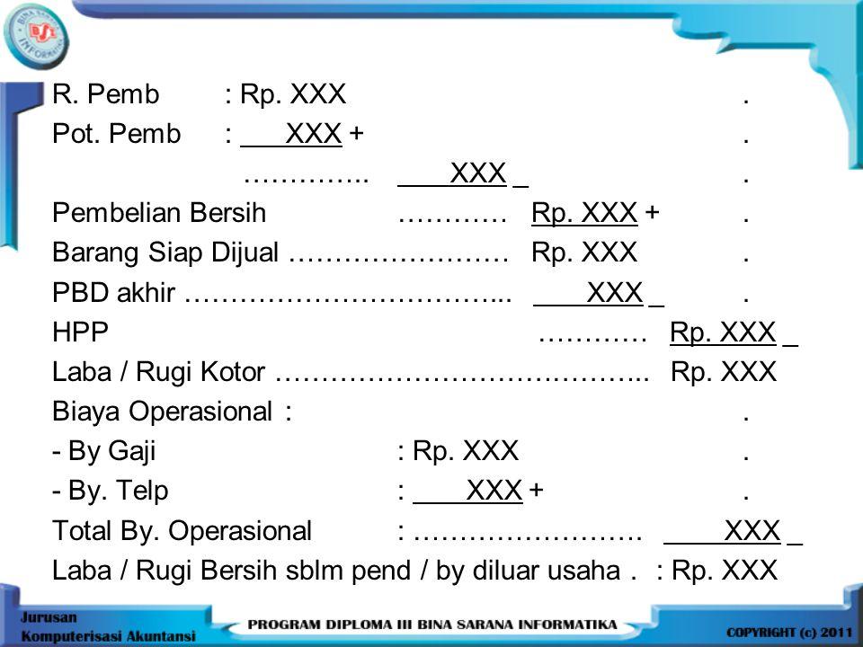 R.Pemb: Rp. XXX. Pot. Pemb: XXX +. ………….. XXX _. Pembelian Bersih ………… Rp.
