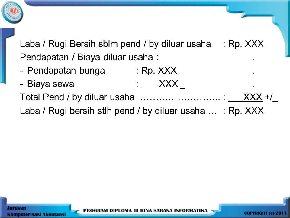 Laba / Rugi Bersih sblm pend / by diluar usaha : Rp.