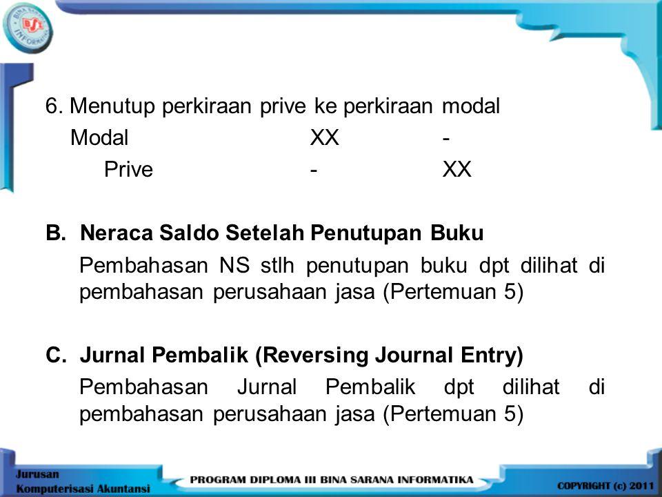 6.Menutup perkiraan prive ke perkiraan modal ModalXX- Prive-XX B.