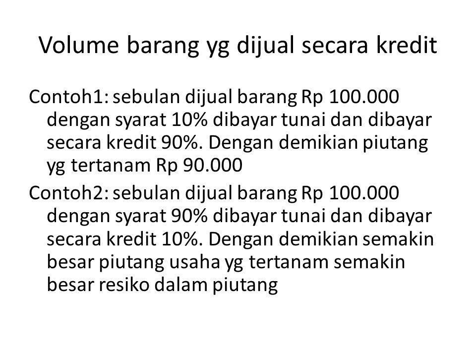 Volume barang yg dijual secara kredit Contoh1: sebulan dijual barang Rp 100.000 dengan syarat 10% dibayar tunai dan dibayar secara kredit 90%. Dengan