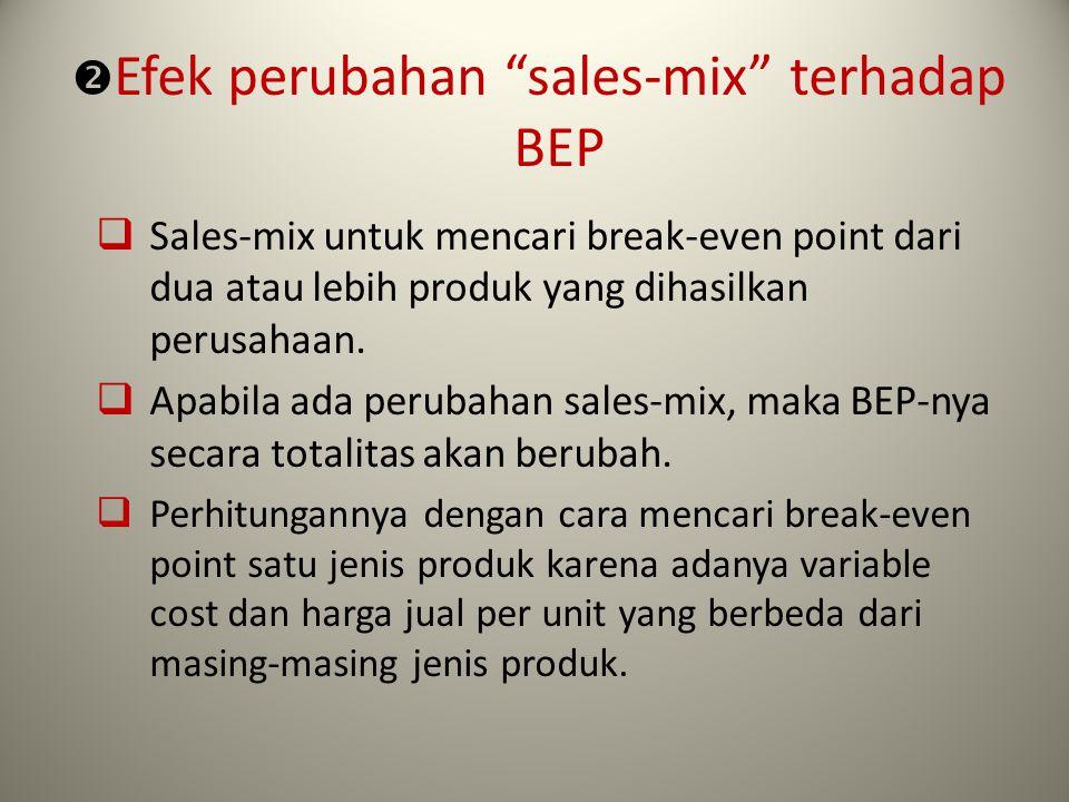 """ Efek perubahan """"sales-mix"""" terhadap BEP  Sales-mix untuk mencari break-even point dari dua atau lebih produk yang dihasilkan perusahaan.  Apabila"""
