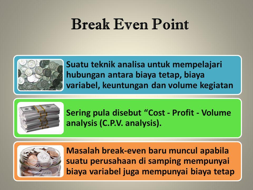 Break Even Point Suatu teknik analisa untuk mempelajari hubungan antara biaya tetap, biaya variabel, keuntungan dan volume kegiatan Sering pula disebu