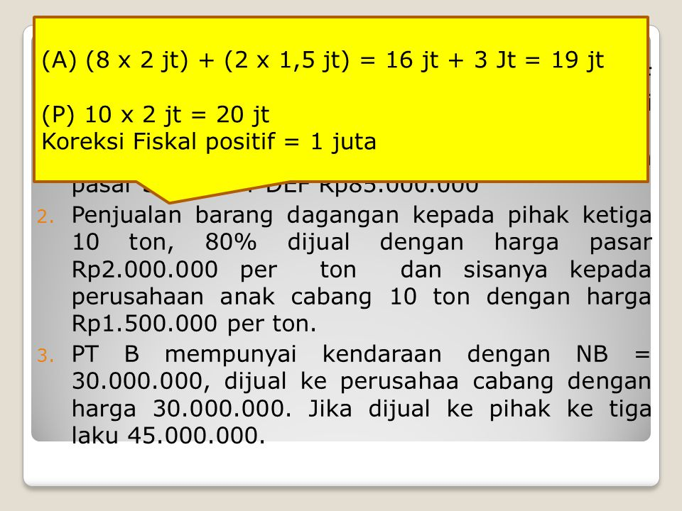 SOAL DIKERJAKAN: 1. WP A menyerahkan kendaraan kepada PT DEF sebagai pengganti penyertaan saham PT DEF. Nilai buku kendaraan Rp60.000.000 (milik WP A)