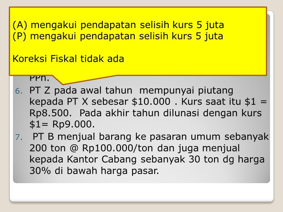 SOAL DIKERJAKAN: 4. PT D memperoleh penghasilan bunga dari bank sebesar Rp100.000 dan sudah dipotong PPh final. 5. PT E memperoleh penghasilan bunga d