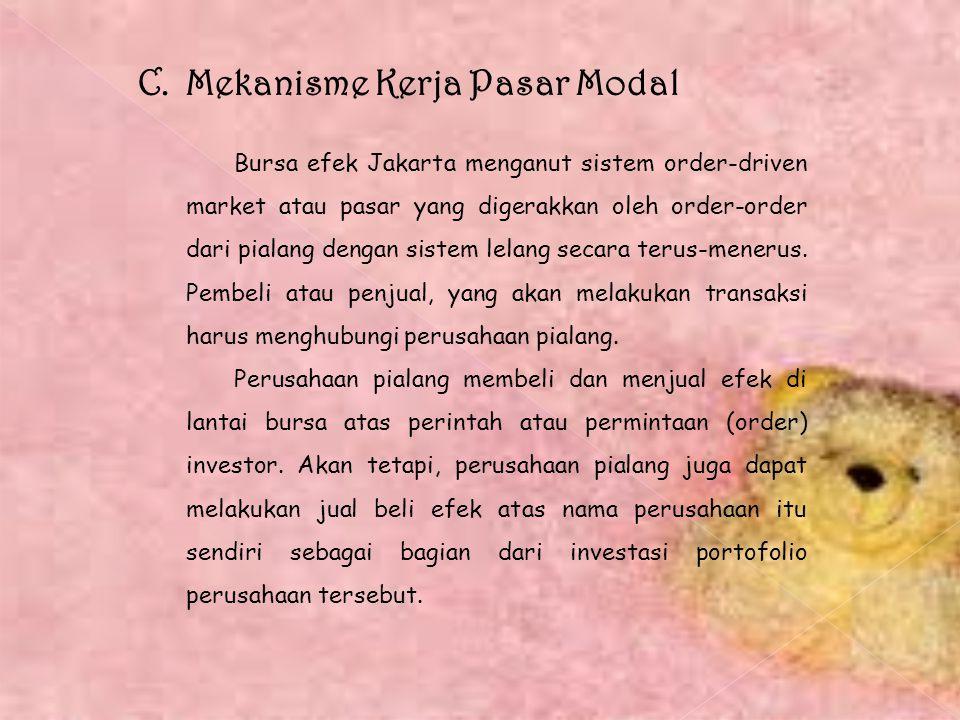C. Mekanisme Kerja Pasar Modal Bursa efek Jakarta menganut sistem order-driven market atau pasar yang digerakkan oleh order-order dari pialang dengan