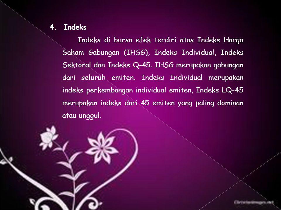4. Indeks Indeks di bursa efek terdiri atas Indeks Harga Saham Gabungan (IHSG), Indeks Individual, Indeks Sektoral dan Indeks Q-45. IHSG merupakan gab