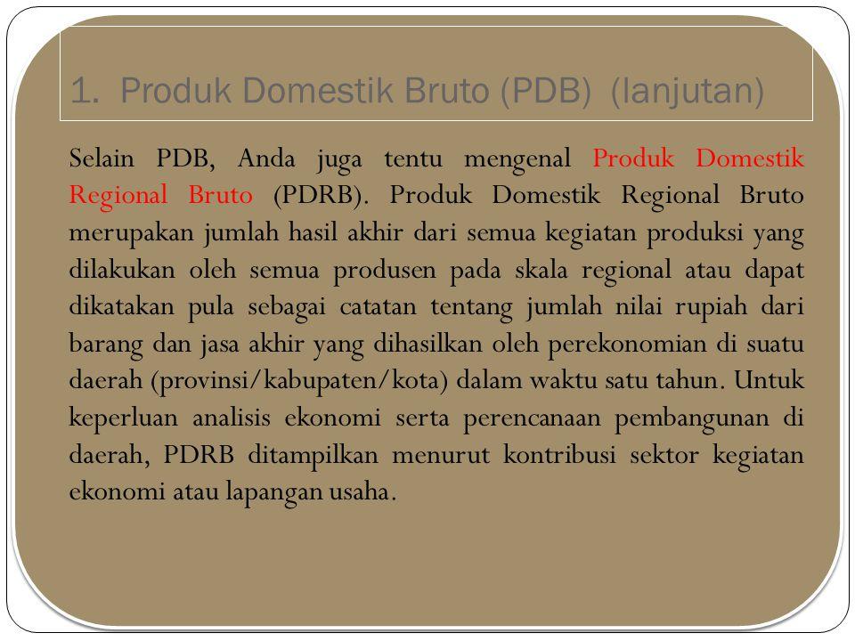 1. Produk Domestik Bruto (PDB) (lanjutan) Selain PDB, Anda juga tentu mengenal Produk Domestik Regional Bruto (PDRB). Produk Domestik Regional Bruto m