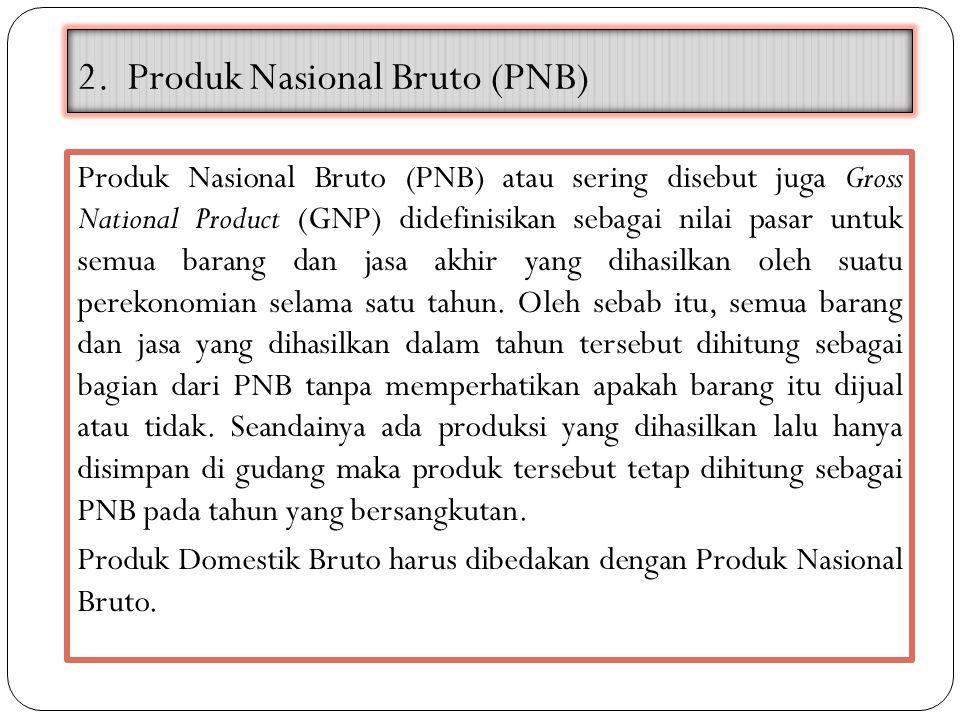2. Produk Nasional Bruto (PNB) Produk Nasional Bruto (PNB) atau sering disebut juga Gross National Product (GNP) didefinisikan sebagai nilai pasar unt