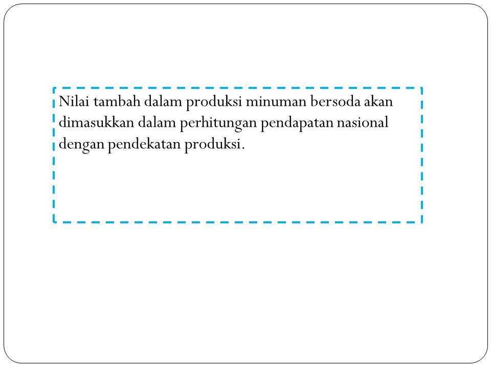 Nilai tambah dalam produksi minuman bersoda akan dimasukkan dalam perhitungan pendapatan nasional dengan pendekatan produksi.